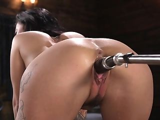 Ass, Big Tits, Boots, Brunette, Dildo, Fucking Machine, HD, Moaning, Pussy, Sex Toys,