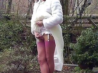 BDSM, Bride, HD, Jerking, Masturbation, Outdoor, Shemale, Stockings,
