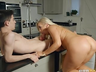 Blonde, Chubby, Clothed Sex, Doggystyle, Kitchen, MILF, Nymphomaniac, Pornstar, Rebecca More, Rough,