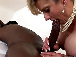 Big Black Cock, Black, British, Desk, Fondling, Handjob, Interracial, Jerking, Massage, MILF,