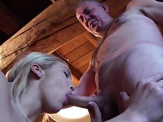Babe, Blonde, Blowjob, Cum In Mouth, Cumshot, Desk, Grandpa, HD, Moaning, Old,