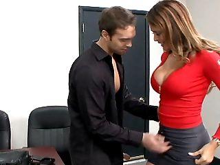 Blowjob, Desk, Husband, Long Hair, MILF, Monique Fuentes, Panties, Striptease, Stylish, Tall,