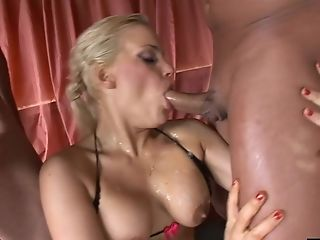 Babe, Blonde, Felching, Fishnet, Fucking, Hardcore, Mmf, Natural Tits, Stockings, Threesome,