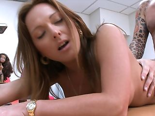 Desk, From Behind, Lindsey Lovehands, MILF, Moaning, Mom, Office, Piercing, Redhead,