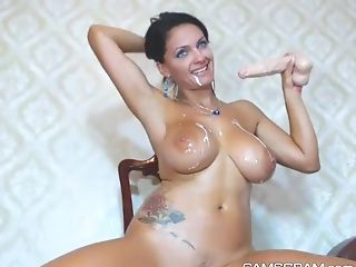 Big Tits, Fake Tits, Masturbation, Model, Sex Toys, Solo, Squirting, Tattoo, Webcam,